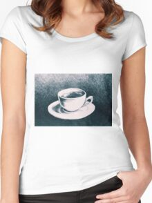 Colorful drawing of coffee cup and saucer Women's Fitted Scoop T-Shirt
