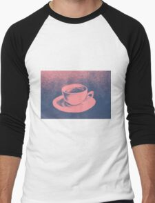 Colorful drawing of coffee cup and saucer Men's Baseball ¾ T-Shirt