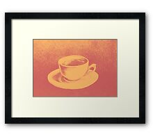 Colorful drawing of coffee cup and saucer Framed Print