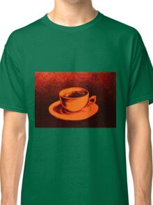 Colorful drawing of coffee cup and saucer Classic T-Shirt