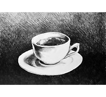 Drawing of coffee cup and saucer Photographic Print