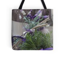 bicycle with lavender Tote Bag