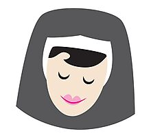 a smiling simple nun in a wimple Photographic Print