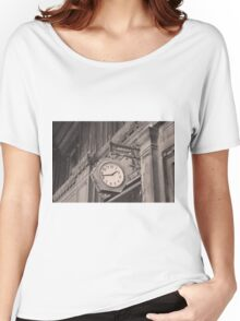 Sepia photography of old street clock and classical building facade Women's Relaxed Fit T-Shirt
