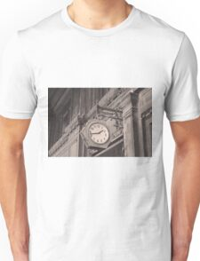 Sepia photography of old street clock and classical building facade Unisex T-Shirt