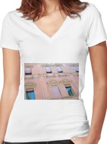 Classical building facade in pink shades Women's Fitted V-Neck T-Shirt