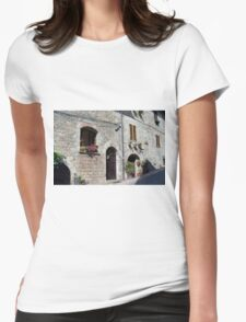 Stone street in Assisi Womens Fitted T-Shirt