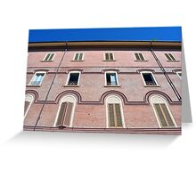 Classical building facade in pink shades Greeting Card