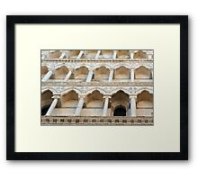 Decorative facade with columns, arches and portico. Framed Print