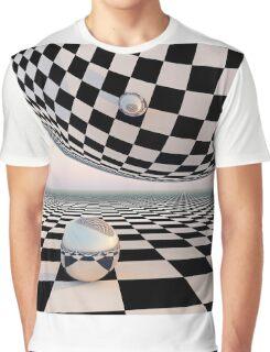 Checkered Surreal Horizon Graphic T-Shirt