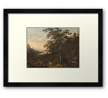 Probably Austrian painter from the 2nd half of the 18th century Landscape with Hunters, Framed Print