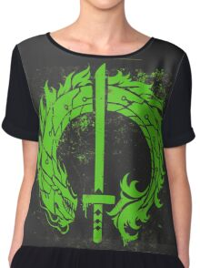 Genji Green Dragon Tag Chiffon Top