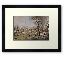 snowy landscape with skaters and trap birds, BRUEGHEL THE YOUNGER, PIETER Framed Print