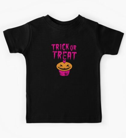 Trick or treat distressed with angry cupcake Kids Tee
