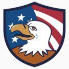 Bald Eagle Smiling USA Flag Crest Cartoon by patrimonio
