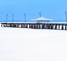 White and Blue Pier by Silken Photography