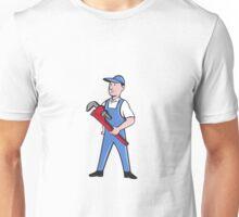Handyman Pipe Wrench Standing Cartoon Unisex T-Shirt