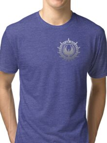 Battlestar Galactica - Chrome Logo Tri-blend T-Shirt