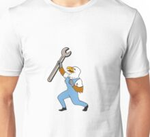 Mechanic Bald Eagle Spanner Standing Cartoon Unisex T-Shirt