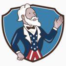 Uncle Sam Waving Hand Crest Cartoon by patrimonio