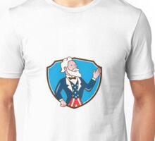 Uncle Sam Waving Hand Crest Cartoon Unisex T-Shirt