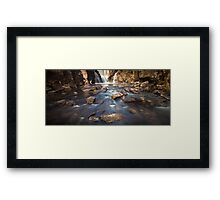 River bed at Penllergaer falls Swansea Framed Print