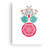 curly whirly lovebirds with heart flowers Metal Print