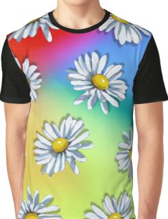 Daisy Heads on Multi-Colored Background, Original Art Graphic T-Shirt
