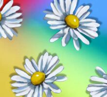 Daisy Heads on Multi-Colored Background, Original Art Sticker