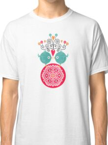 curly whirly lovebirds with heart flowers Classic T-Shirt