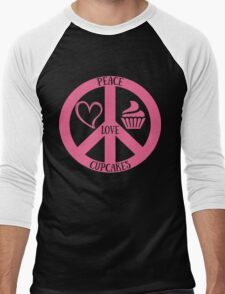 Peace Love and Cupcakes,Funny Tee For Cupcakes Lover Men's Baseball ¾ T-Shirt