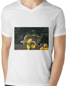 Ginger cat and yellow flowers Mens V-Neck T-Shirt
