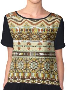 Navajo colorful  tribal pattern with geometric elements Chiffon Top