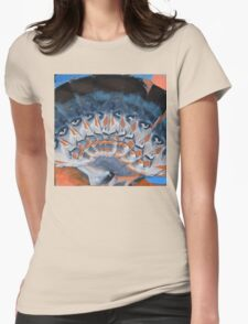 Orange And Blue Womens Fitted T-Shirt