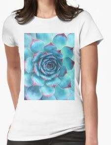 blue succulent Womens Fitted T-Shirt
