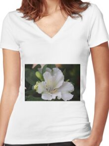 white lilies Women's Fitted V-Neck T-Shirt