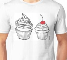 Cupcakes, Drawing with Red Cherry Unisex T-Shirt