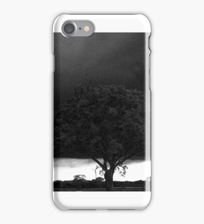 Tree Against Night Sky in Black and White iPhone Case/Skin
