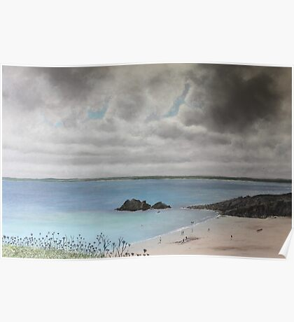 Clouds Over Porthgwidden Beach Poster