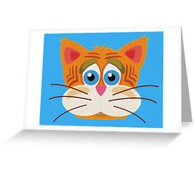 Cat Face Cartoon Vector Graphic Greeting Card