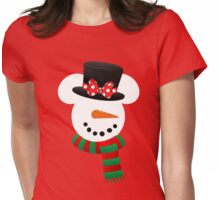 Minnie Snowman Womens Fitted T-Shirt
