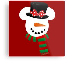 Minnie Snowman Metal Print