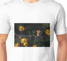 Ginger cat and yellow flowers Unisex T-Shirt