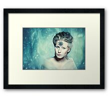 Winter beauty fantasy woman portrait Framed Print