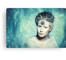 Winter beauty fantasy woman portrait Canvas Print