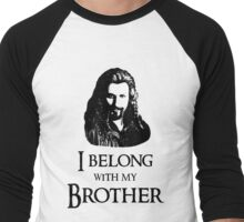 """I Belong With My Brother."" Men's Baseball ¾ T-Shirt"