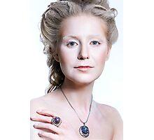 Beautiful glamour model girl with Christmas fashion makeup  Photographic Print