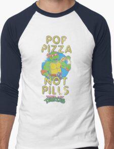 Pop Pizza Not Pills Men's Baseball ¾ T-Shirt