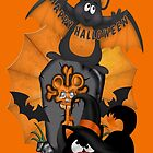 Halloween Cat and Bat by LoneAngel