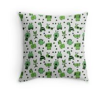 Green Little Monsters  Throw Pillow